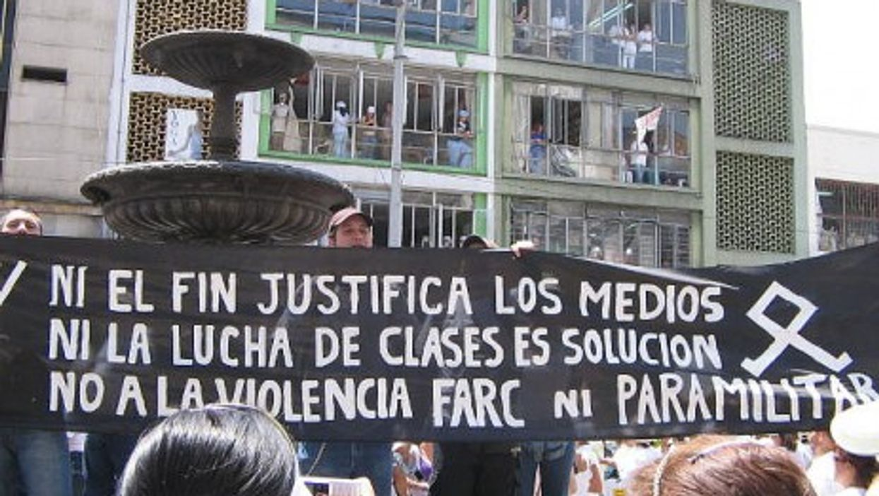 An anti-FARC rally in Medellin in 2008 (medea material)