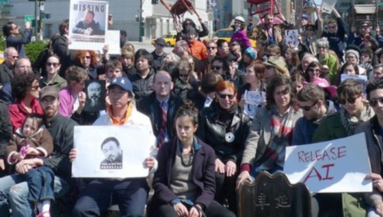 An April 17 protest in New York City againt China's decision to detain Ai Weiwei