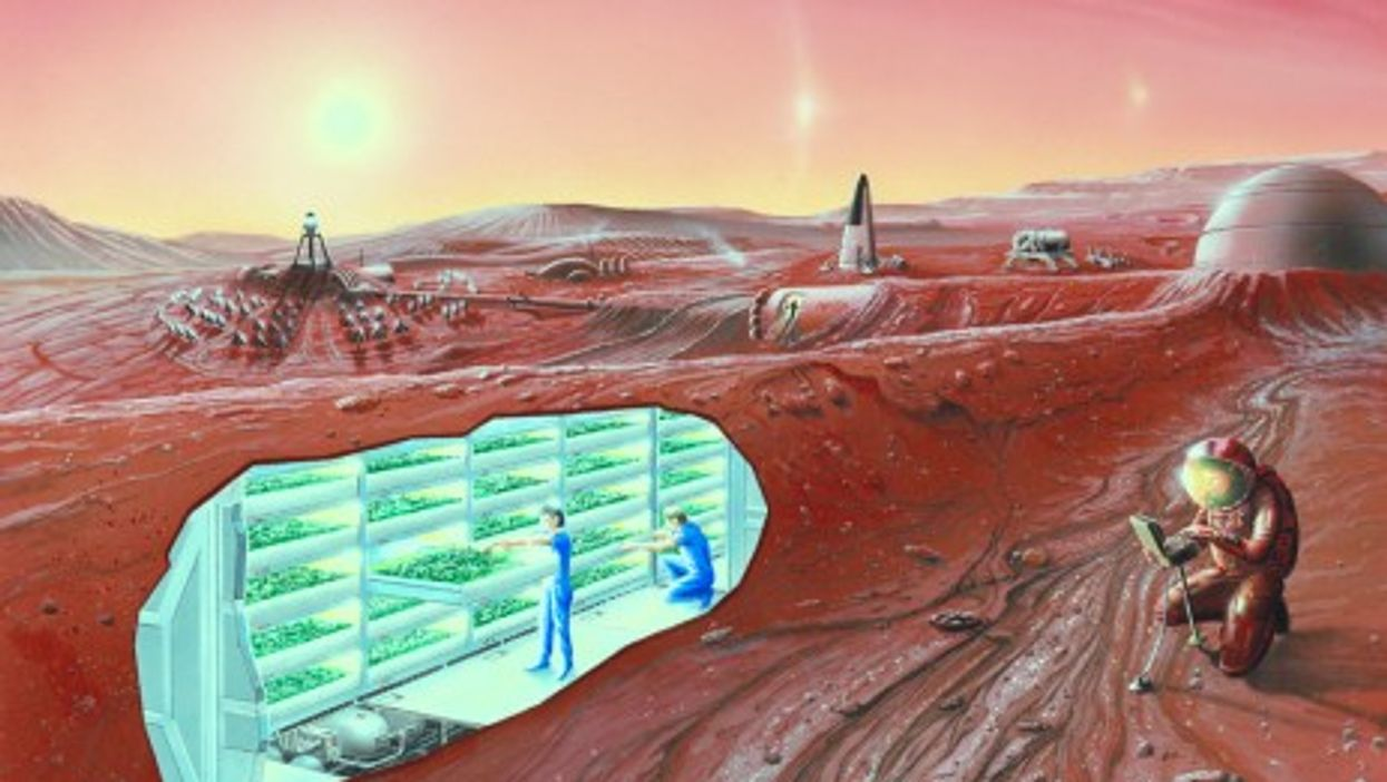 An artist's conception of a Mars space colony (Wikipedia/NASA)