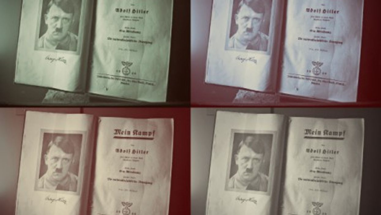 """An copy of Hitler's """"Mein Kampf"""" at a Nuremberg Museum"""