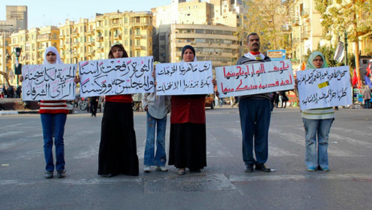 An Egytian family has their say in Tahrir Square on March 9 (Gigi Ibrahim)