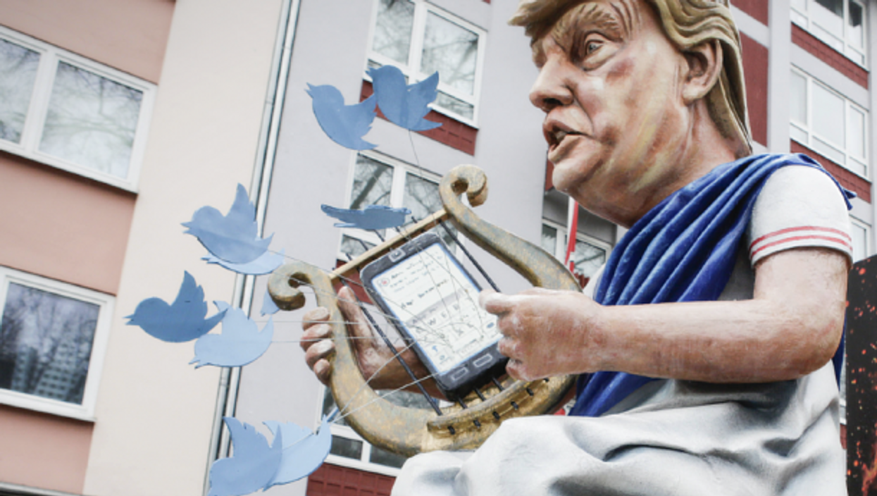An 'Emperor Trump' float at a carnival in Mainz, Germany