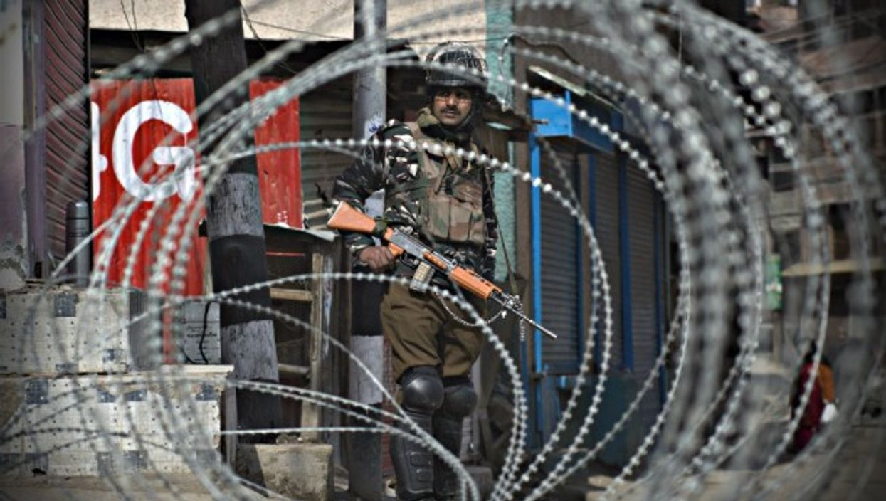 An Indian paramilitary trooper in Srinagar, in Indian-controlled Kashmir,