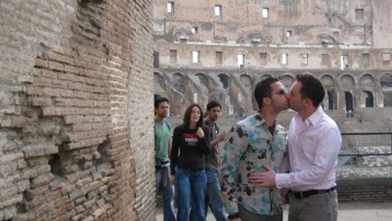 An Italian gay couple in the Colosseum in Rome