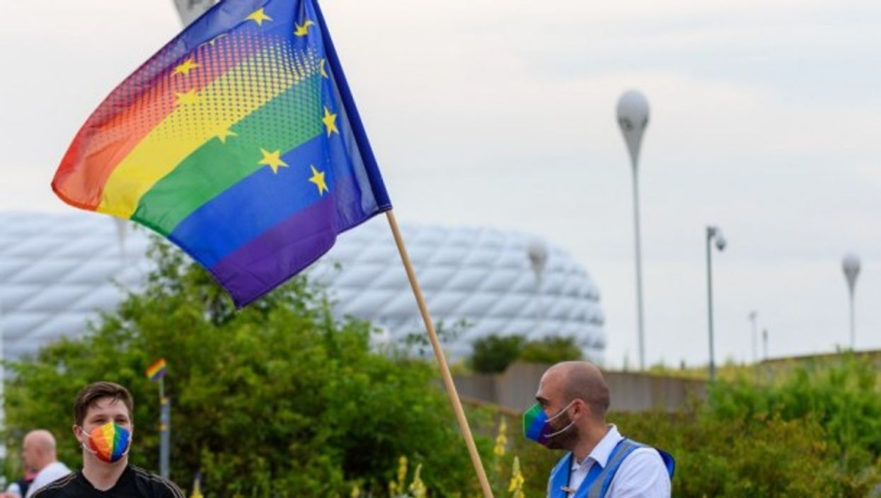 An LGBT rights protester at a recent Hungary football match