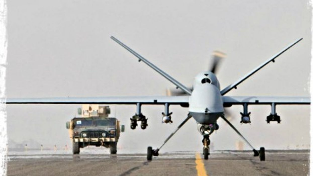 An MQ-9 drone taking off in Afghanistan