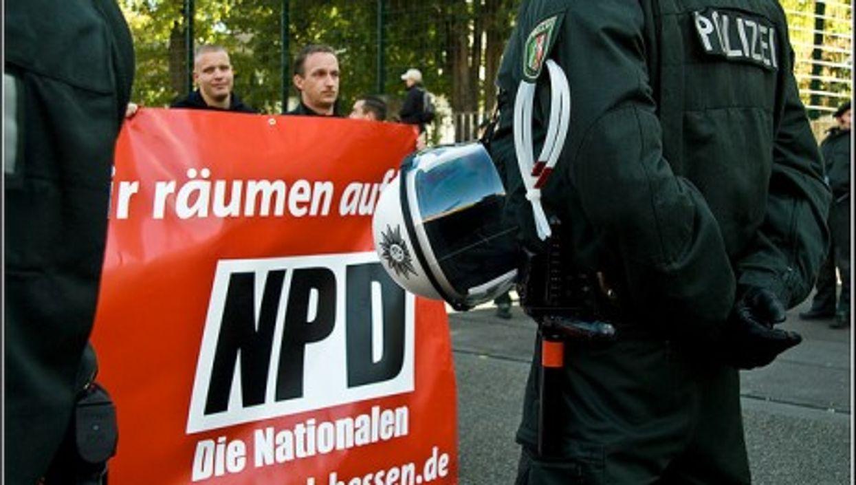 An NPD rally in Frankfurt