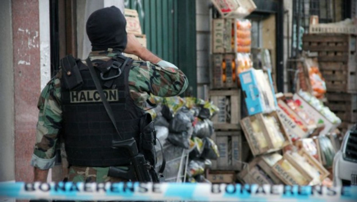 An officer during an operation in Buenos Aires