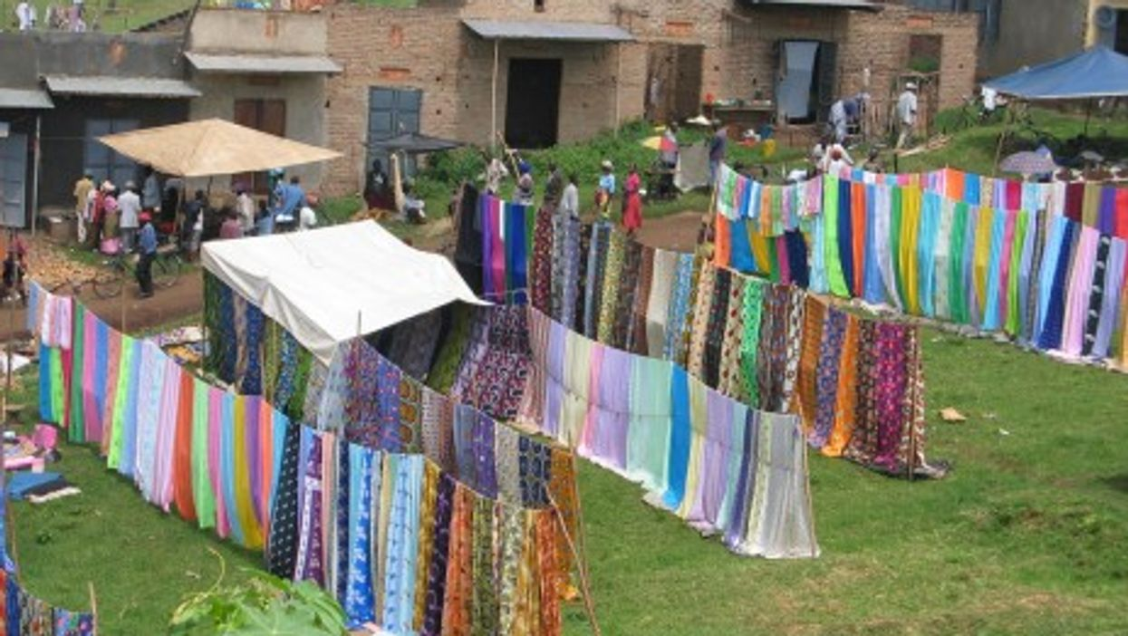 An open market in Kasese, Uganda a border town home to many Congolese.