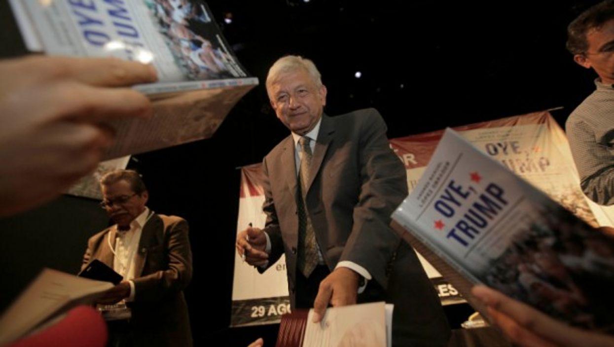 Andrés Manuel López Obrador at the presentation of his book ''Oye, Trump''