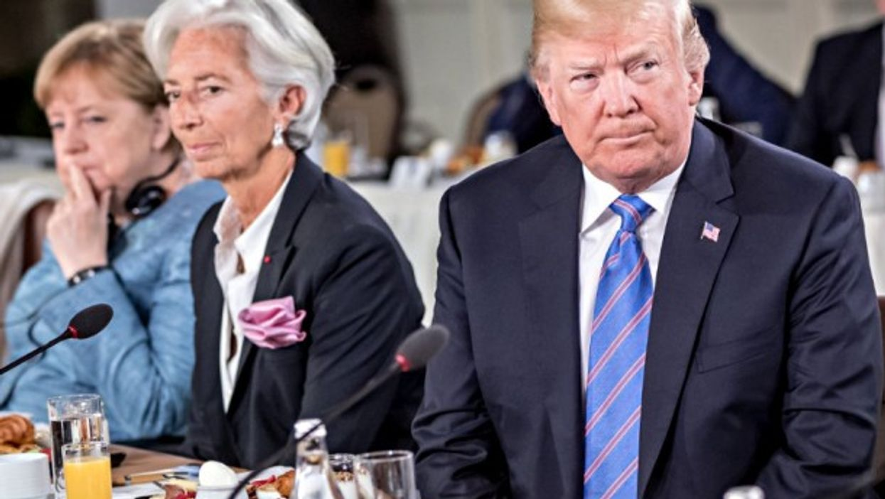 Angela Merkel, Christine Lagarde and Donald Trump attend the G7 Summit in Canada, on June 2018