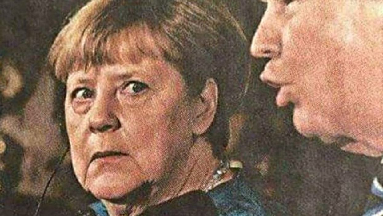 Angela Merkel reacting to Donald Trump