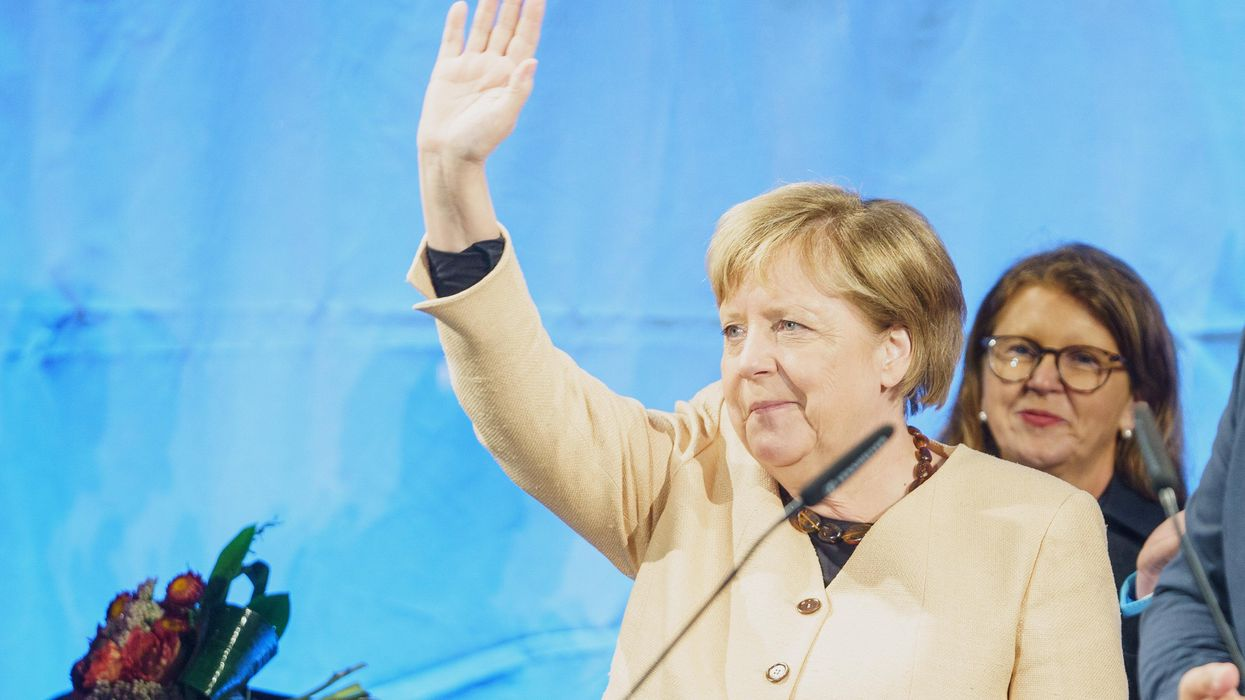 Angela Merkel wawing at a campaign event of CDU party in September 2021