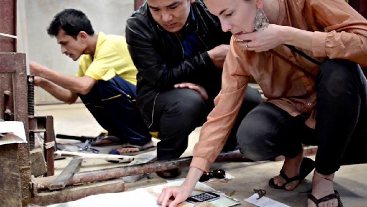 Anna Forsberg and Afghan craftsmen