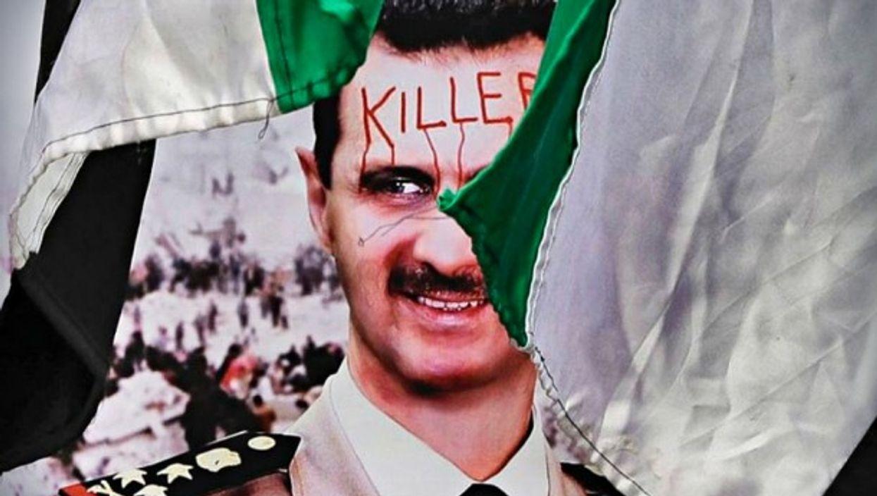 Anti-Assad poster in Bucharest, Romania