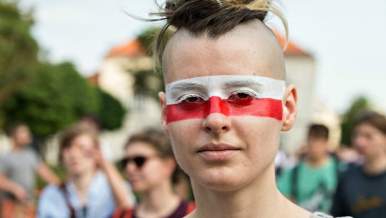 Anti-government protester in Warsaw on June 24