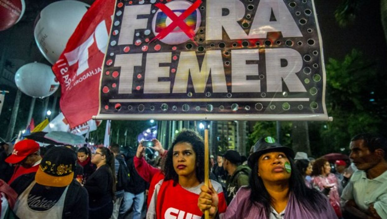 Anti-government protesters in Sao Paulo on June 20