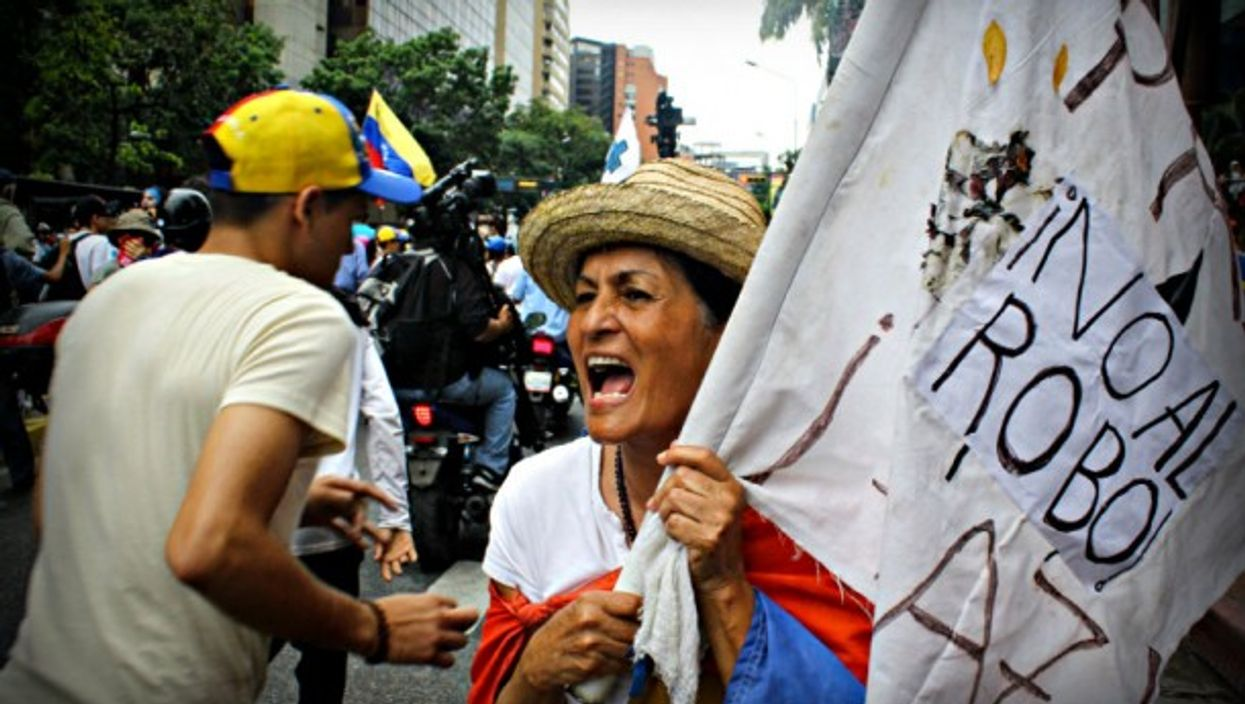 Anti-Maduro protesters in Caracas on Wednesday