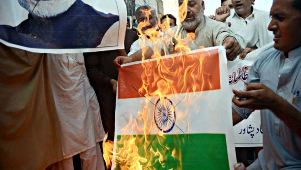 Anti-Modi protesters in Peshawar, Pakistan