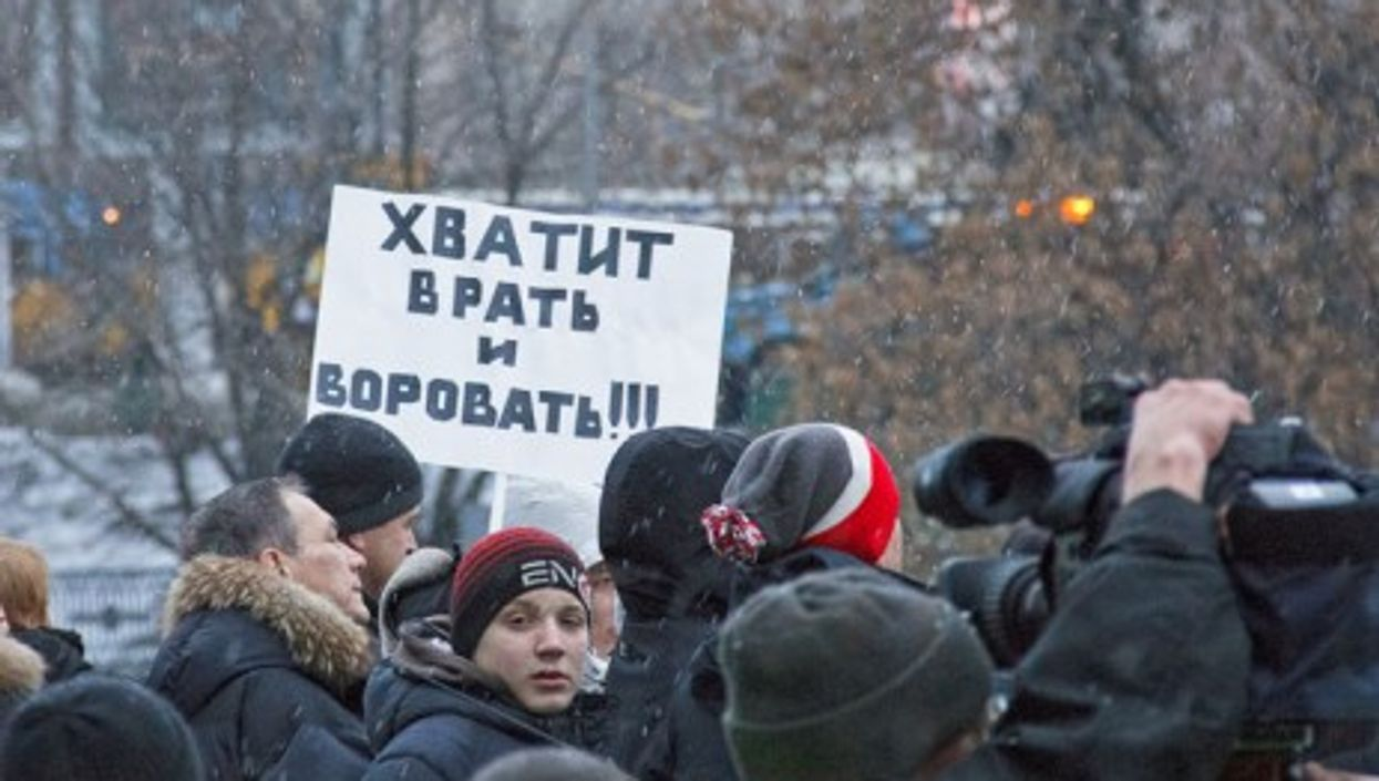 Anti-Putin protests in Moscow. The sign reads: