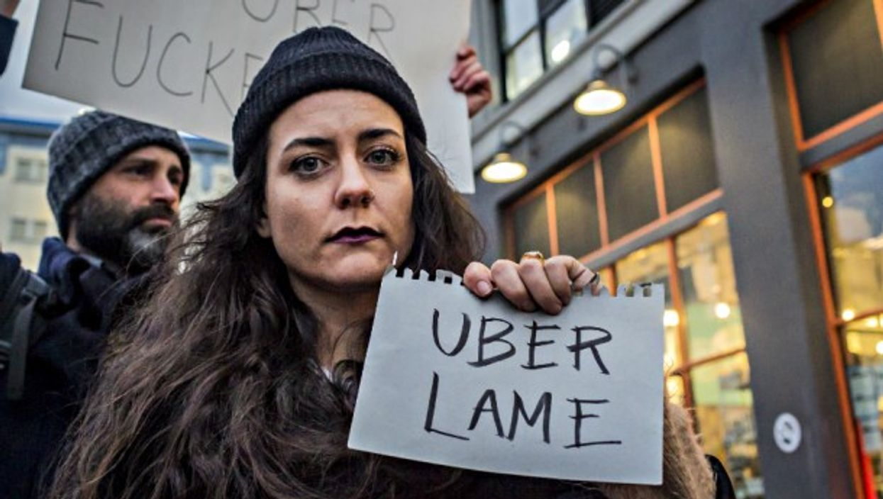 Anti-Uber protest in NYC on Feb. 2