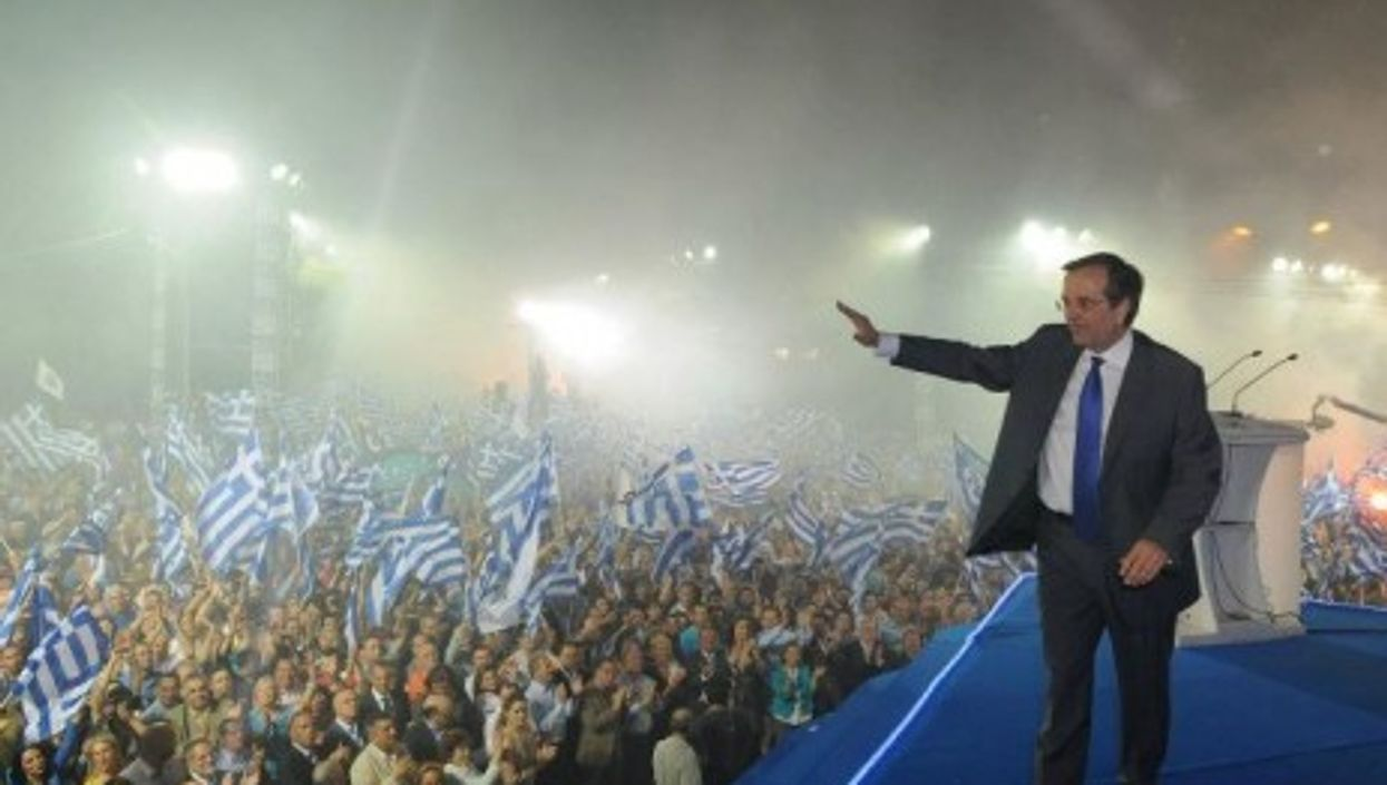 Antonis Samaras, feeling victorious (Nea Dimokratia)