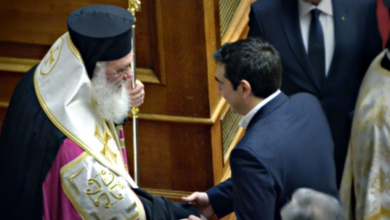 Archibishop of Greece Ieronymos and Prime Minister Alexis Tsipras in Athens in February