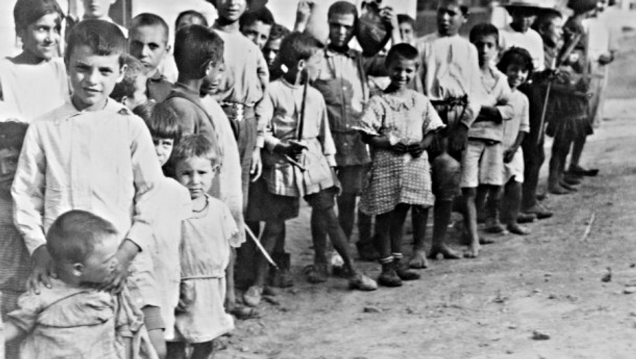 Armenian refugee children near Athens in 1923 after expulsion from Turkey.