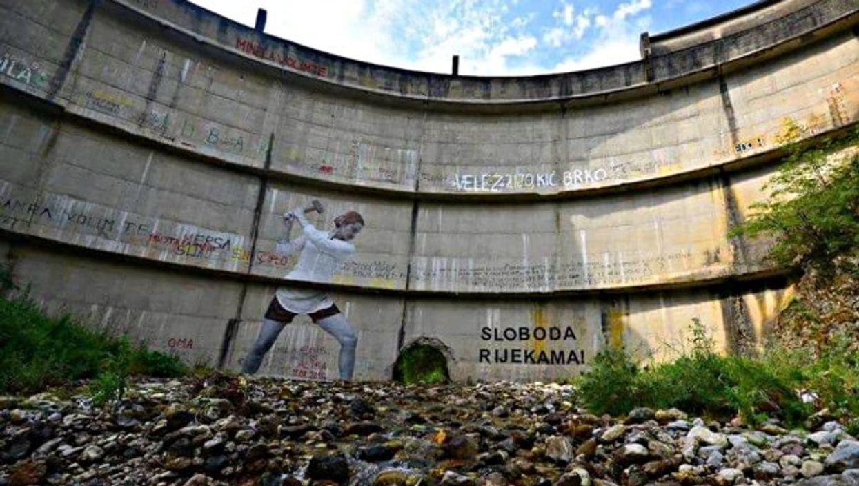 Art installation on a Bosnian dam