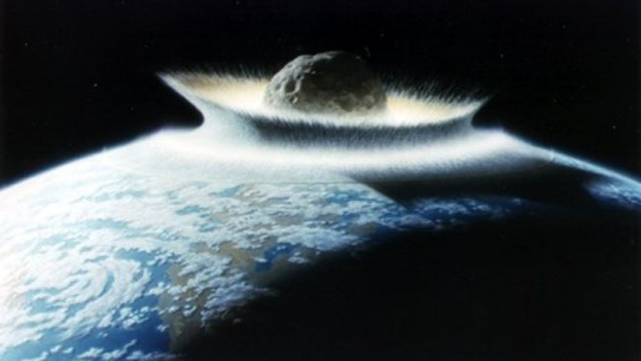 Artist rendition of cataclysmic asteroid impact (NASA)