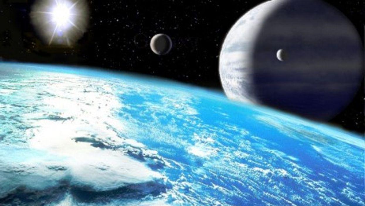 Artist's impression of exoplanets orbiting the Sun-like star Upsilon Andromedae A