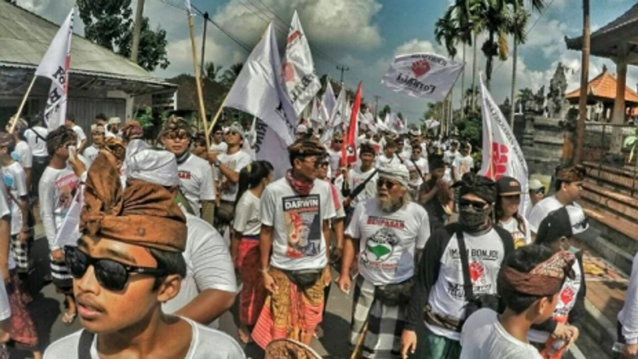 Artists protesting against development projects in Bali