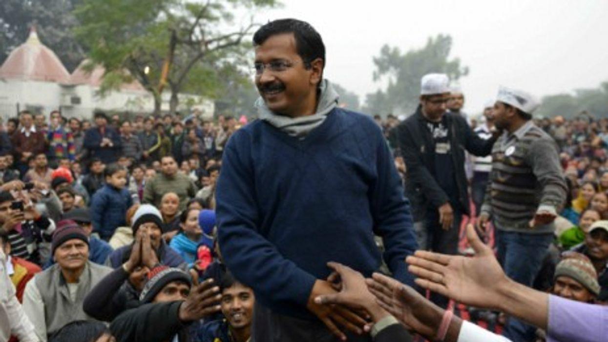 Arvind Kejriwal addresses a public meeting in Delhi.
