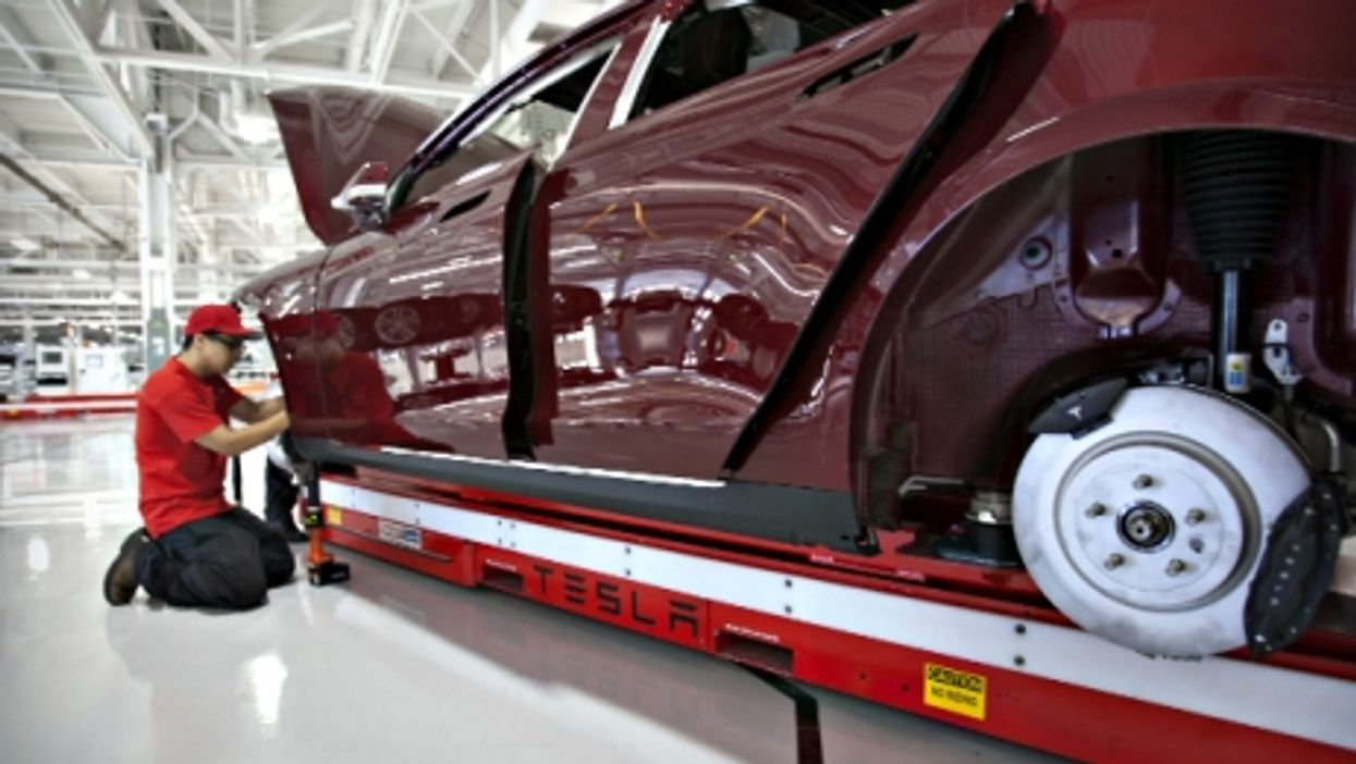 Assembling the Tesla Model S at the carmaker's plant in Fremont, California