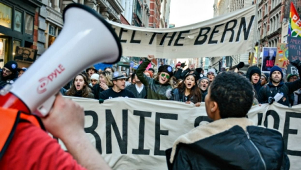 At a Bernie Sanders rally in NYC in January