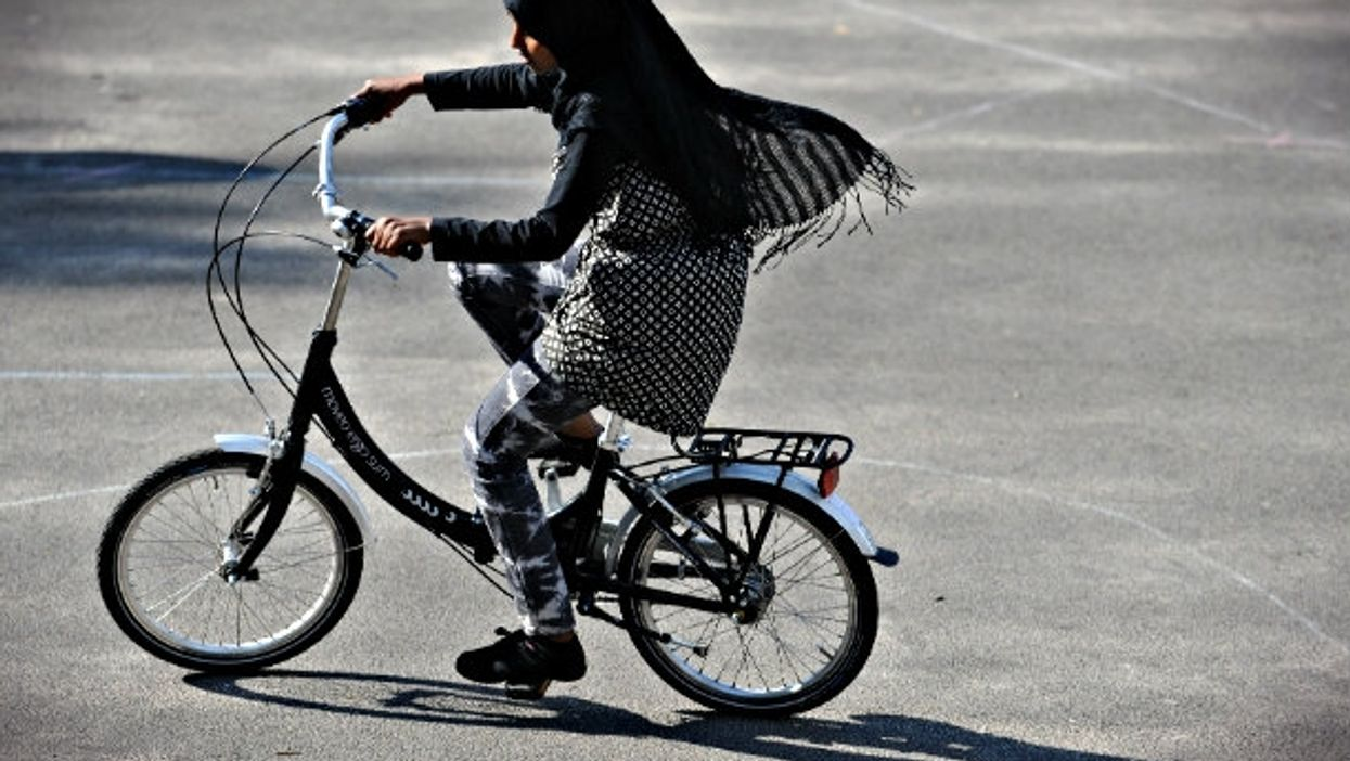 At a cycling class for immigrant women in Bremen, Germany.