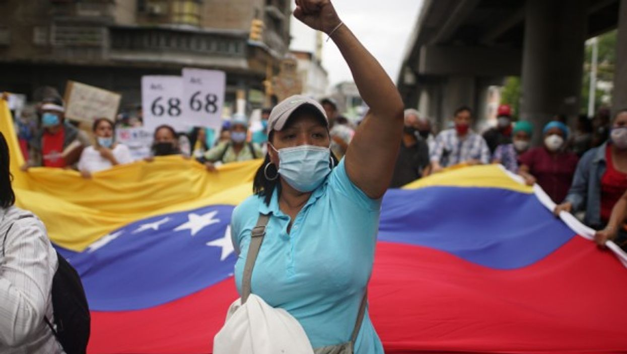 At a demonstration in Caracas by health and education workers for better salaries