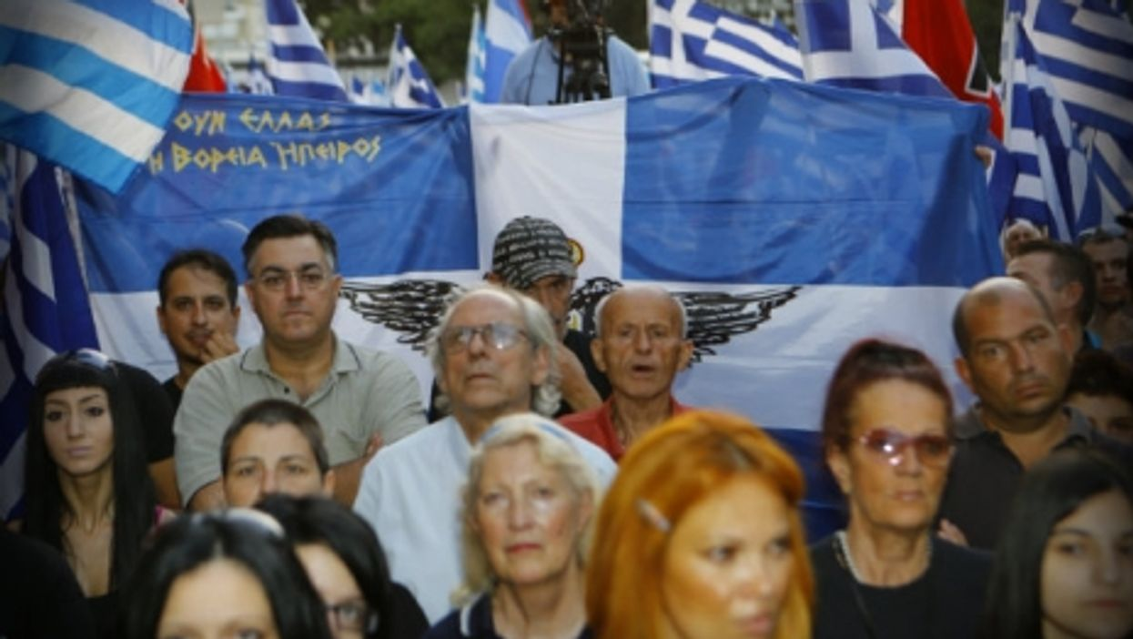 At a Golden Dawn rally in Athens last September.