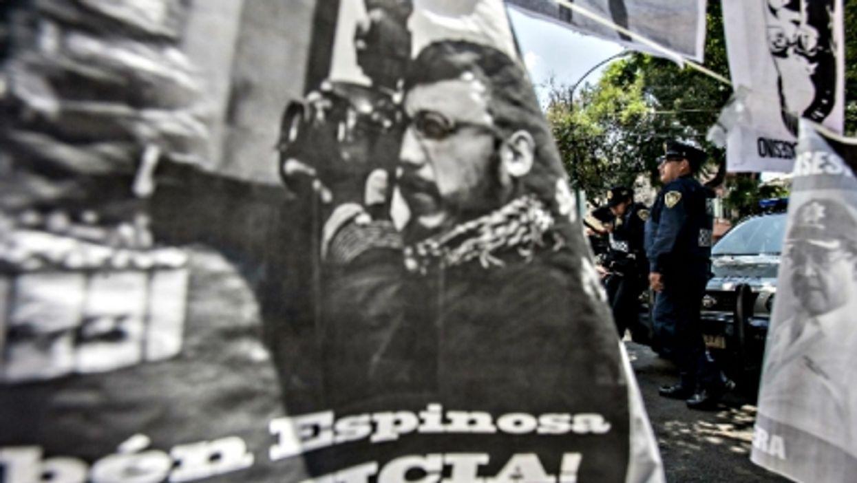 At a Mexico City rally in honor of slain news photographer Ruben Espinosa on Aug. 8
