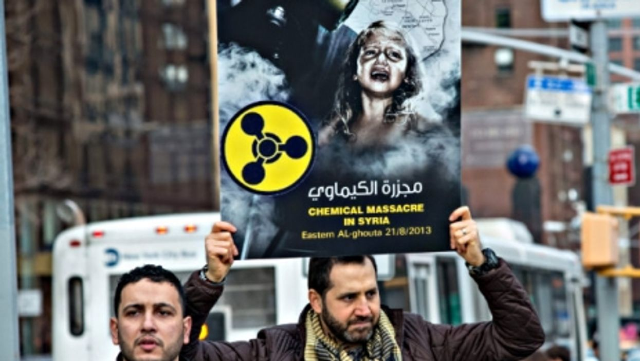 At a New York rally in December against Russian support for Assad's regime