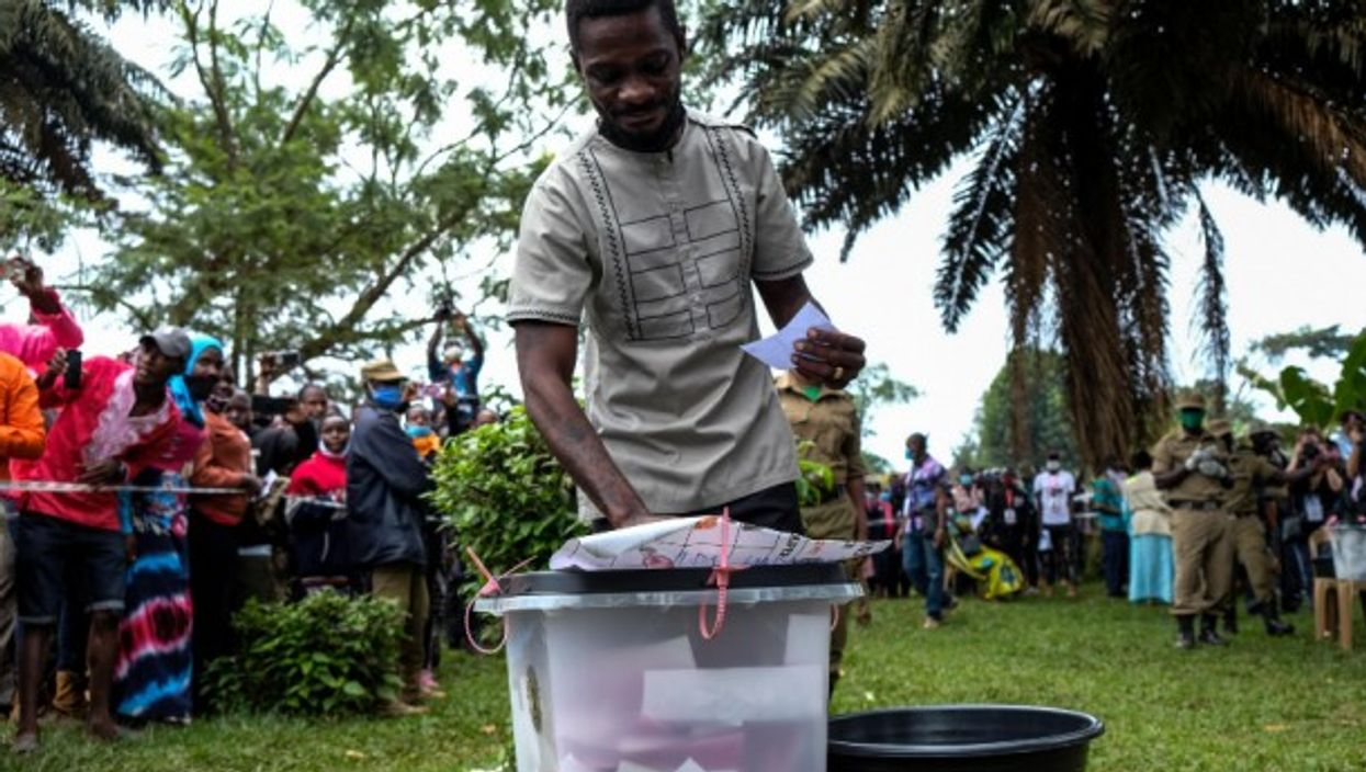 At a polling station in Mageere, Uganda during the country's presidential and parliamentary elections