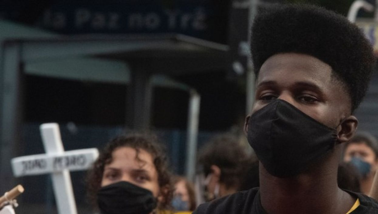At a protest against racism in Rio De Janeiro