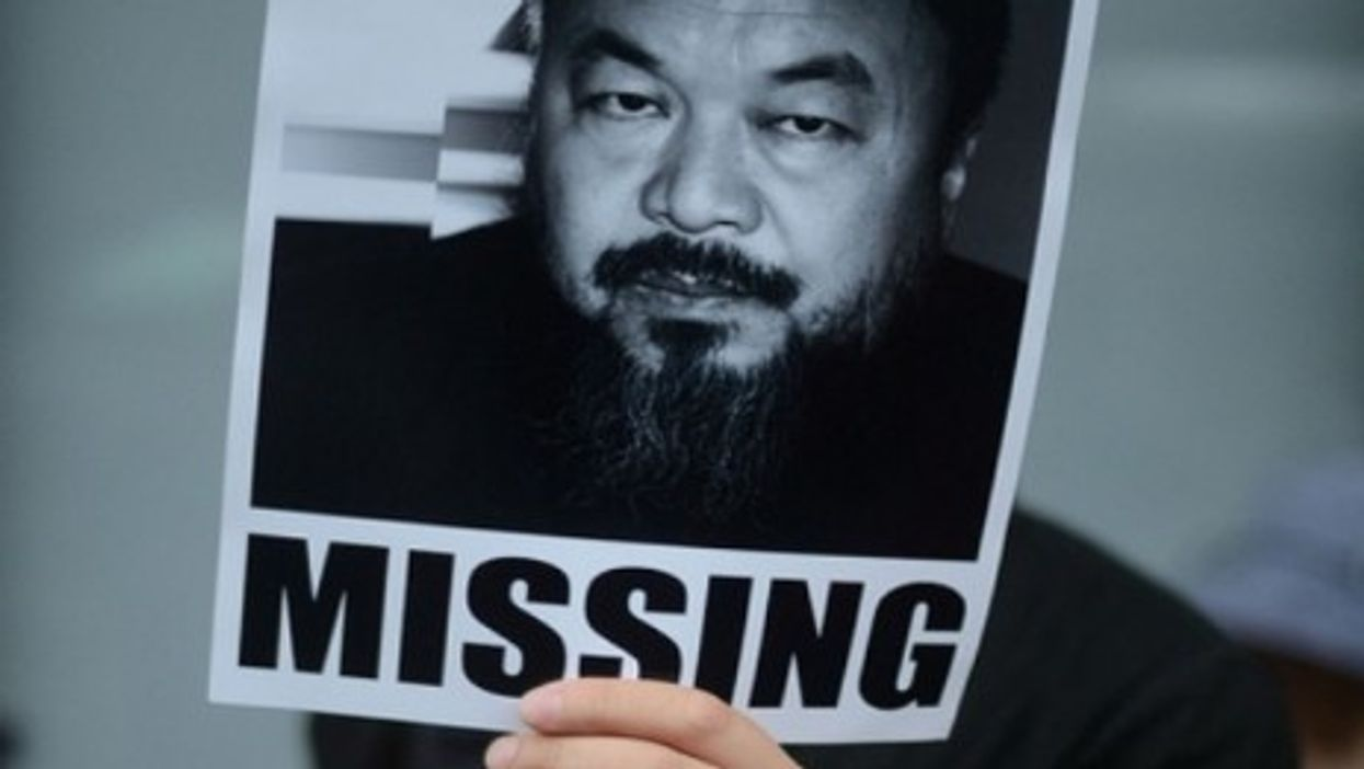 At a protest before Ai Weiwei's release (laihiu)