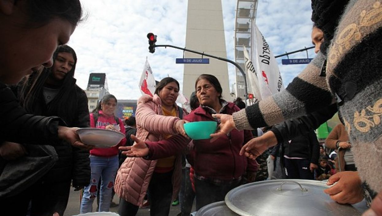 At a soup kitchen protest in Buenos Aires last summer
