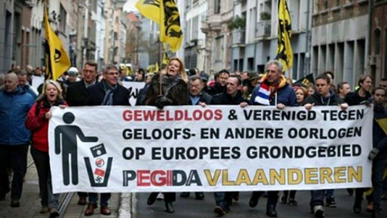 At last week's Pegida rally in Antwerp