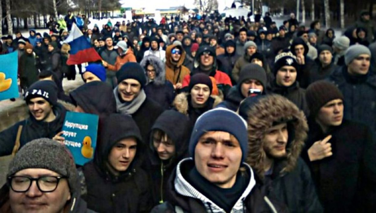 At Sunday's anti-corruption protest in Russia