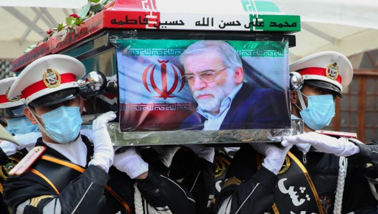 At the funeral Of Iranian nuclear scientist Mohsen Fakhrizadeh