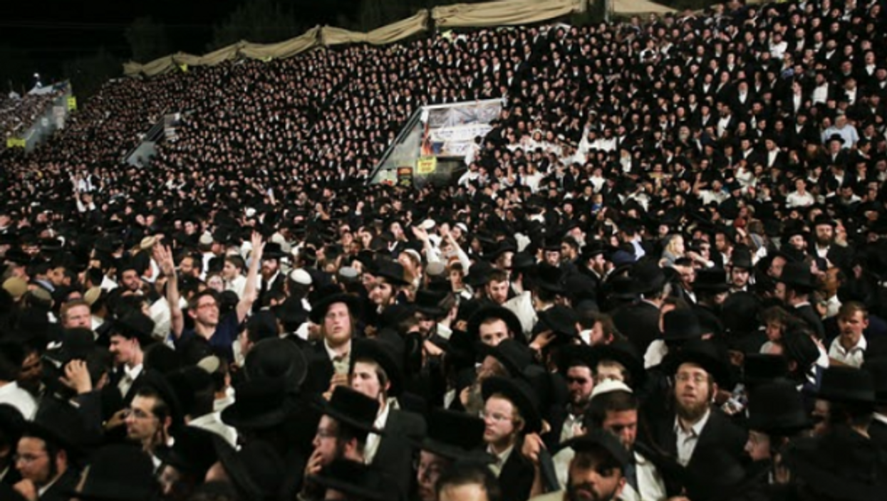 At the Lag B'Omer festival on Mount Meron, Israel, just before a stampede killed at least 44