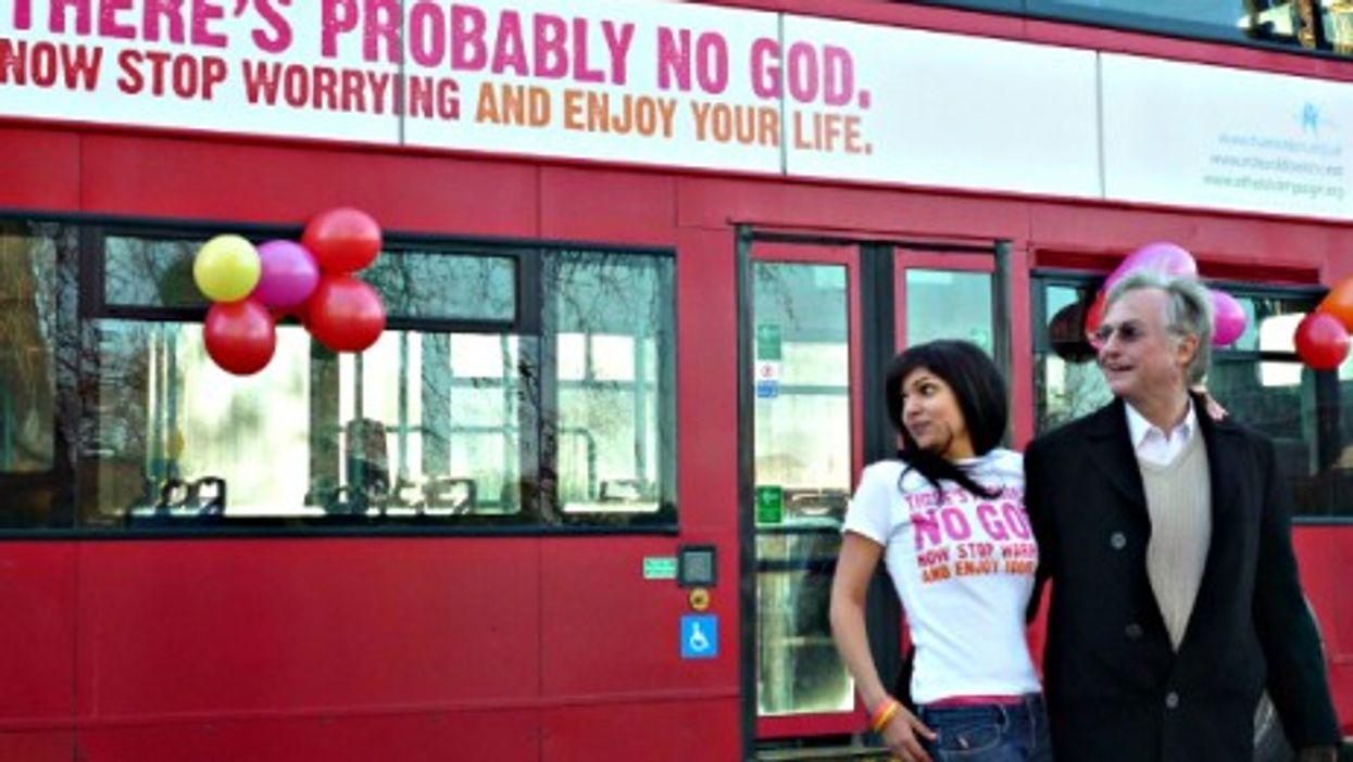 Atheist Richard Dawkins and bus campaign creator Ariane Sherine in London