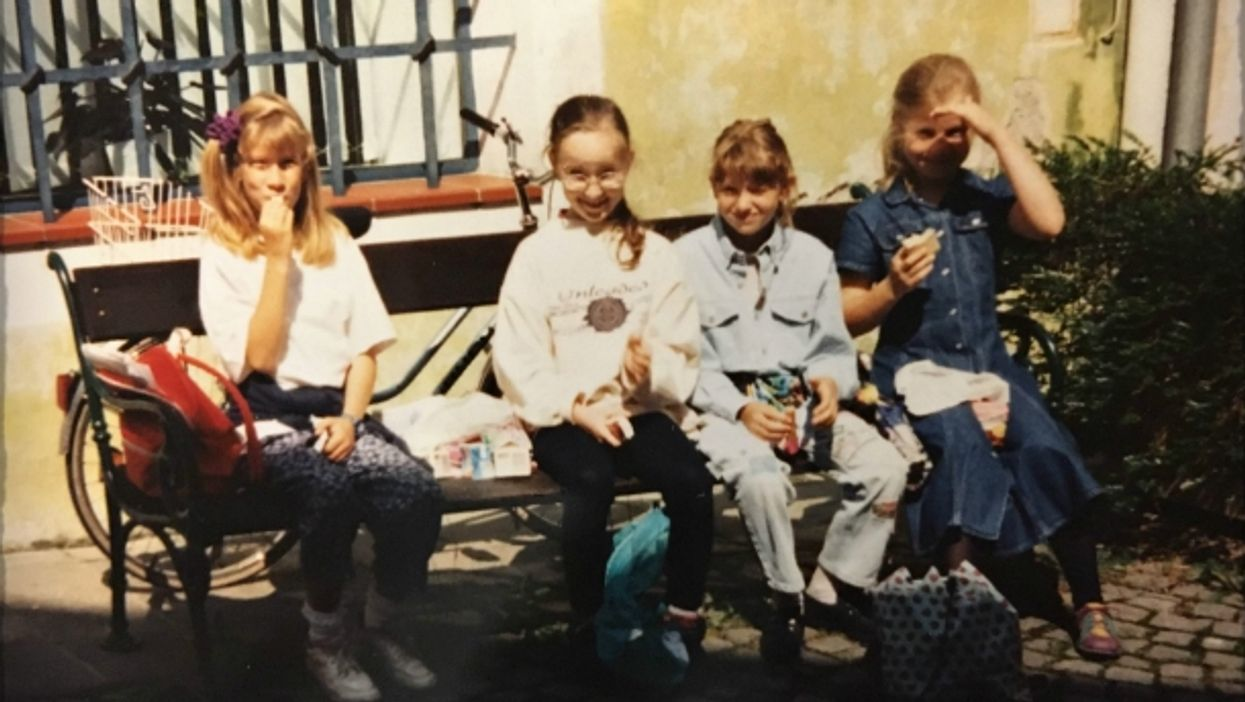 Author Tanja Hofbauer (right) visiting Hitler's birth house with her classmates in 1995